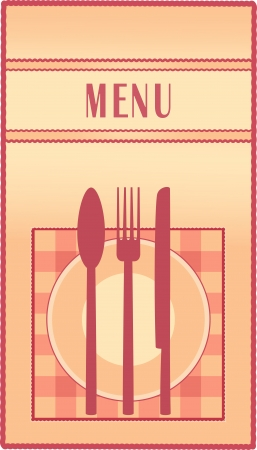 traditional restaurant menu with plate, spoon, fork, knife and napkin Vector