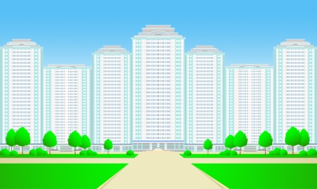 New city skyscrapers with road,tree and grass on sky background Stock Vector - 13921936