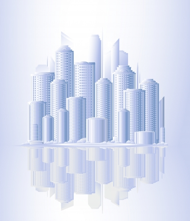 urban background with skyscrapers and sunrise Stock Vector - 13921934