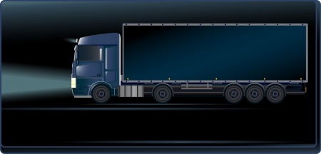 night road: Visiting card with blue truck on the night road Illustration