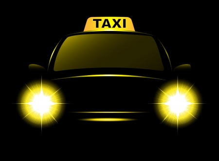 taxi cab: dark cab silhouette with taxi sign and bright beams