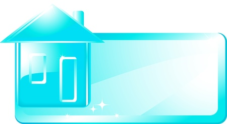 swimming pool home:  glossy blue house with space for text in frame Illustration