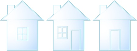set of isolated house silhouette on white background with window and door Stock Vector - 14009516