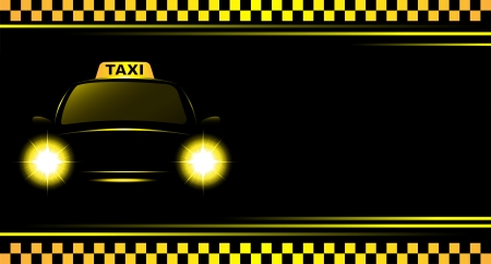 taxi cab: business card and black background with taxi sign and cab