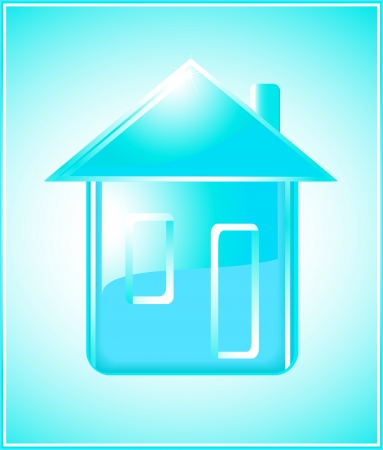 pure modern house silhouette with window and door on blue clean background Stock Vector - 14088379