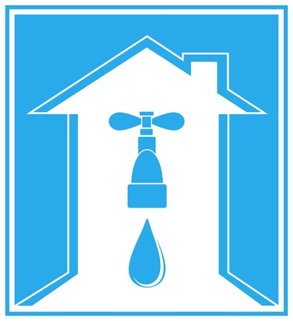 water pipes: blue icon with modern house, tap, water drop and arrow Illustration