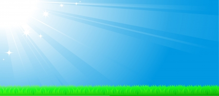 blue sky background with sun beam, green grass and space for text Vector