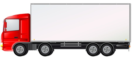 white truck: delivery commercial truck isolated on white background