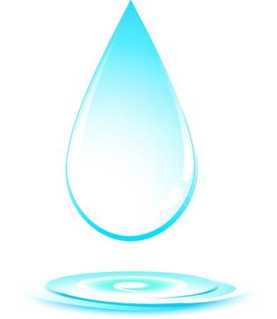 water sanitation: isolated falling water drop silhouette on white background Illustration