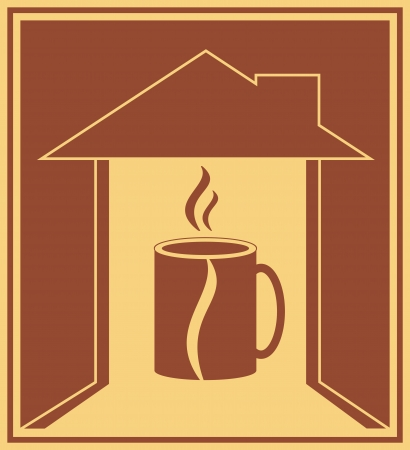 coffee house: icon with coffee cup and bean, house silhouette and smoke Illustration