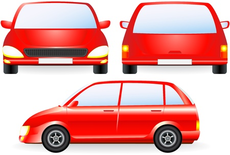 front wheel drive: red isolated car silhouette, front and profile icon Illustration