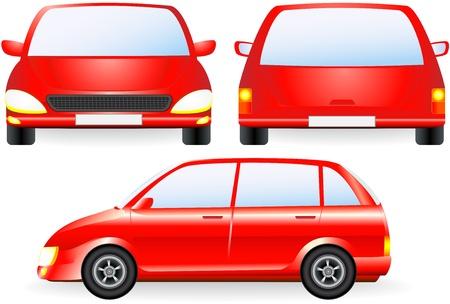 rot isoliert Auto Silhouette, Vorder-und Profil-Symbol