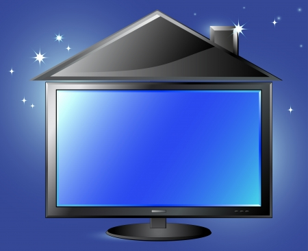 home cinema: fantasy TV screen and house silhouette on night sky background and space for text