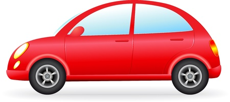 transportation cartoon:  isolated retro red car silhouette, detail