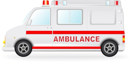emergency call: isolated ambulance car silhouette on white background Illustration