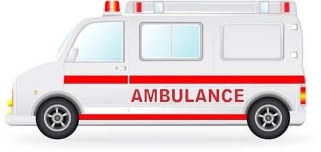 equipe medica: isolato auto ambulanza silhouette su sfondo bianco Vettoriali