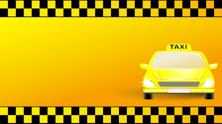 business card with city taxi car on yellow  transport background Vector