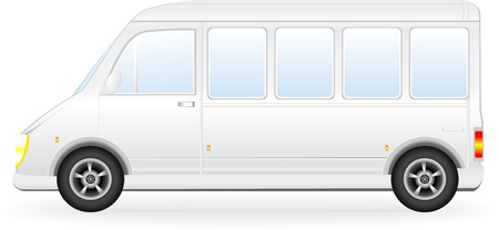 minibus: isolated modern passenger minibus silhouette on white background