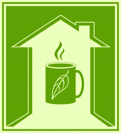 logo medicina: restaurante cartel con taza caliente de t� verde