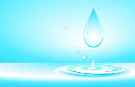 ochtend dauw: natuurlijke achtergrond met zuiver water drop, splash en ruimte voor tekst Stock Illustratie