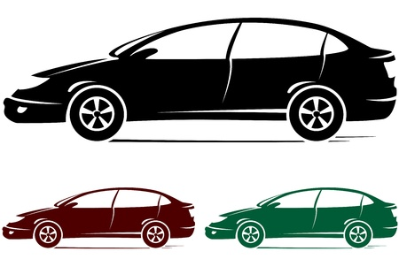 set of three colorful modern cars silhouette Vector