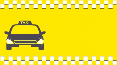 yellow transport background and cab with taxi sign Vector