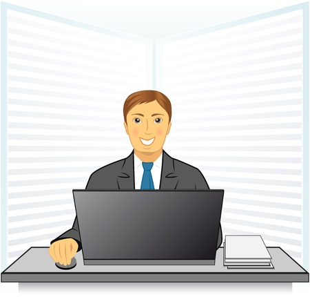 banker: young happy man in business office with laptop