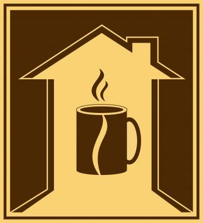 coffee house: brown coffee icon with house, bean and cup