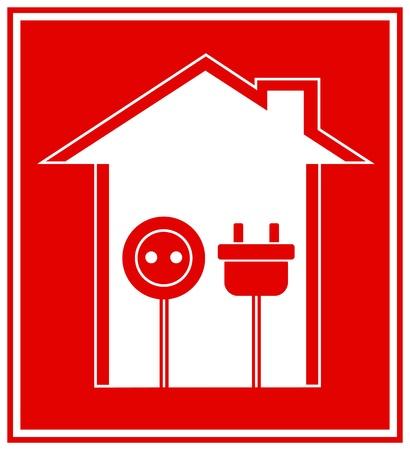 electrical appliance: sencilla t�cnica de color rojo s�mbolo de la electricidad con la casa