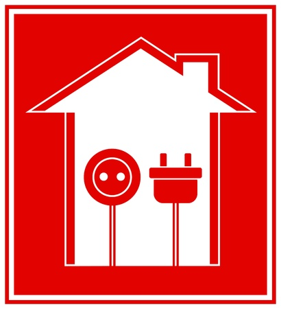 plug adapter:  simple technical red symbol of electricity with house