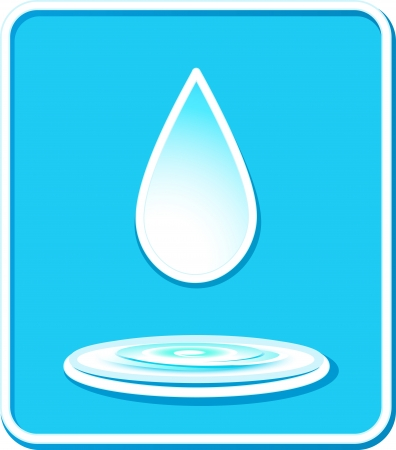 blue icon with water drop and splash silhouette Vector