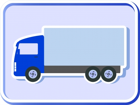 blue button with isolated truck silhouette on background Vector