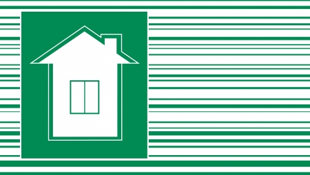 green new house symbol on bar code background Vector