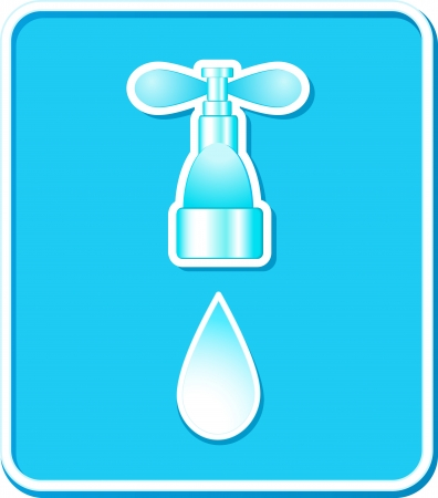 blue icon with tap and water drop with shadow Vector