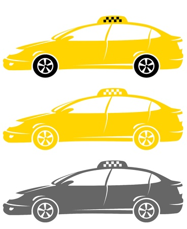 set of isolated colorful modern cabs with taxi sign Vector