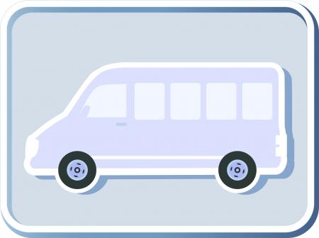 icon with isolated minibus image on light background Illustration