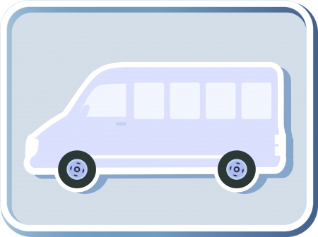 icon with isolated minibus image on light background Vector