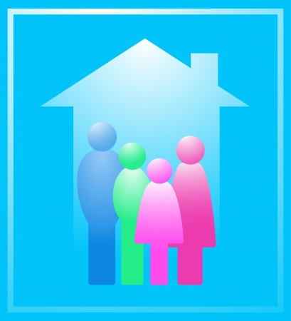 icon with colorful family in house silhouette Stock Vector - 15218780