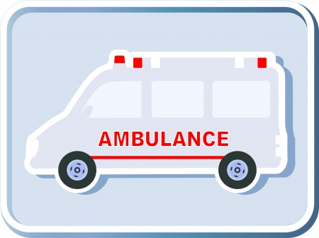 emergency call: icon with isolated ambulance emergency car silhouette