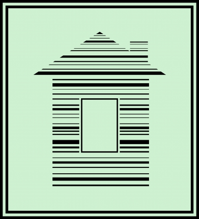 home logo: concept sign with bar code and house silhouette Illustration