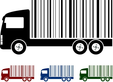 set of colorful concept trucks with bar code Stock Vector - 15218779