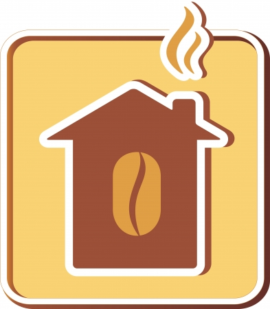 icon with coffee house silhouette and smoke under roof Vector