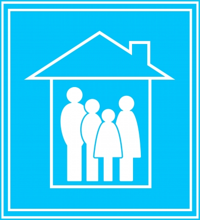 simbolo uomo donna: icona moderna con la grande famiglia e silhouette casa privata Vettoriali