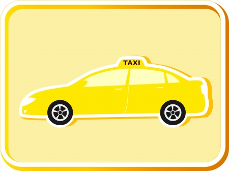 icon with modern car in frame and taxi sign Vector
