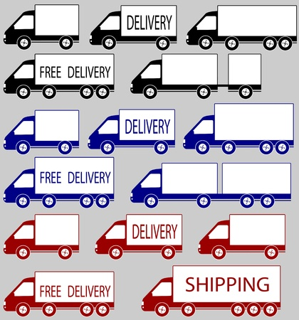 set of colorful delivery trucks with space for text Vector