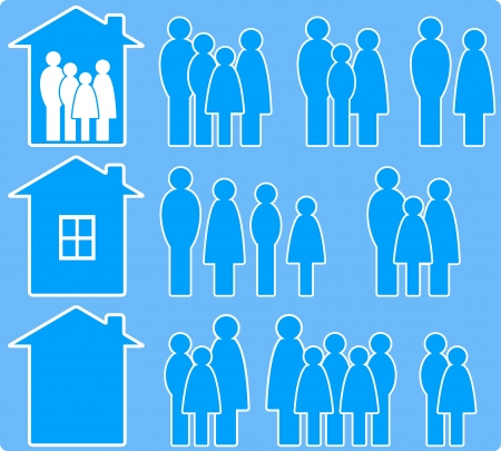 set of icons with people images and house silhouette Vector