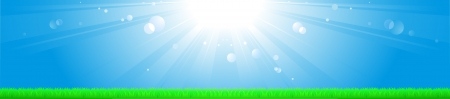 light background with sun, blue sky, grass and space for text Vector