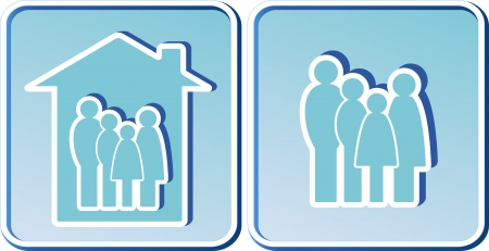 set of blue icons with family people silhouette Stock Vector - 15254499
