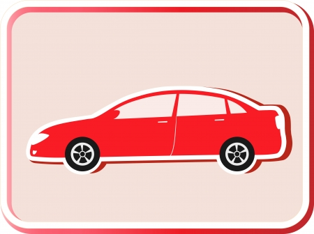 modern red car silhouette in frame on light background Stock Vector - 15254500