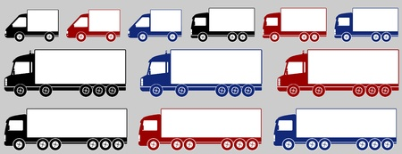 set of isolated colorful heavy delivery trucks Stock Vector - 15311715